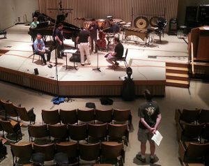 Rehearsal for Even Exchange at the Wellesley Composers Conference.
