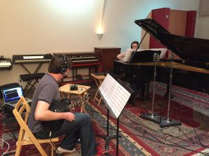 Dan and Margaret Halbig recording Incite for an upcoming Wild Rumpus album.